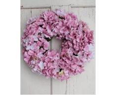 Corona de hortensias artificiales sobre mimbre, rosa, Ø 35 cm - Guirnalda decorativa / Composición floral - artplants