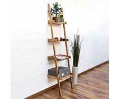 Relaxdays – Estantería Estilo Escalera de bambú, 4 estantes: 176 x 44 x 37 cm, para salón, Cuarto de baño, Almacenamiento, Sala de Estar, Cocina, decoración, Oficina, Naturaleza