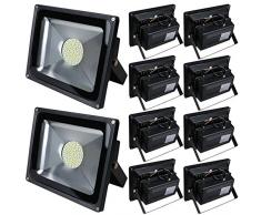 Pack of 10,Luz 50W SMD Foco LED Proyector de exterior - Blanco cálido