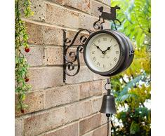 Reloj/Termómetro de Jardín con Caballo y Campana Decorativa - 47cm