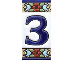 """Letreros con numeros y letras en azulejo de ceramica, pintados a mano en técnica cuerda seca para nombres y direcciones. Texto personalizable. Diseño FLORES MINI 7,3 cm x 3,5 cm. (NUMERO TRES """"3"""")"""