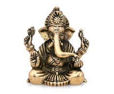 CraftVatika Estatua de Ganesha (Golden acabado Ganesha Escultura de latón éxito Señor Ganpati Idol Hindú Dios Religioso Figura