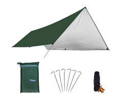 Azarxis Toldo Impermeable de Tienda de Campaña Ligero UV Protección Refugio con Accesorios para Acampar Mochilero Picnix Aventura al Aire Libre (Verde - M)