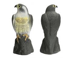 SODIAL Disuasion de aves senuelo del halcon grande, Control de plagas ave de rapina de cuerpo entero parecido Repelente de ave y gato de estatua de jardin Decoracion de estanque de jardin