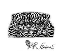 Fibra de cebra Animal Pet Sofá. 3 Tamaños perro cama. Alta calidad Material de la cubierta. Fabricado en Reino Unido