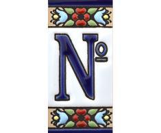 """Letreros con numeros y letras en azulejo de ceramica, pintados a mano en técnica cuerda seca para nombres y direcciones. Texto personalizable. Diseño FLORES MINI 7,3 cm x 3,5 cm. (SIMBOLO """"NUMERO"""")"""