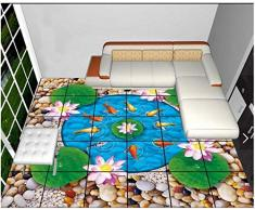 Fondos de pantalla de foto personalizados Papel pintado de pintura de piso 3d Figura 3d nueve peces loto adoquín pintura de piso sala de estar wallpaper-300 * 210cm
