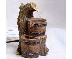 Estatuas Fuente de Mesa,Decorativo de Mesa Fuente de Agua de pequeño Barril Decoración de Resina Agua Decoración de hogar acuático Turbina eólica Joyería Creativa Regalos de Empresa-A 10.6pulgada
