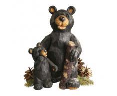 Design Toscano by Blagdon JE228500 - Figura decorativa (resina), diseño oso y cría en el bosque, color negro