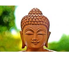 Liquidación de almacén- Mano de madera tallado Estatua de Buda - Buda Decoración - Madera Escultura de Buda Alzar la mano en gesto de bendición ( 8 pulgadas Abhaya )