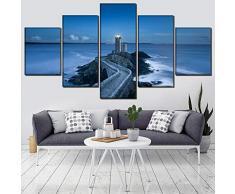 KGKBH 5 Piezas de Lienzo de Arte de Pared Camino de Piedra del adoquín de 5 Pedazos Que Lleva al Faro Imagen Modular Impresión de la Lona Pintura del mar Arte de la Pared Decoración del hogar