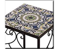 Taburete Retro H 60 cm Mesa Auxiliar Mesa de mesa flor de mosaico