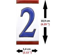 """Números casa. Numeros y letras en azulejo de ceramica, pintados a mano en técnica cuerda seca para nombres, direcciones y señaléctica. Diseño USA MEDIANO 10,9 cm x 5,4 cm. (NUMERO DOS """"2"""")"""