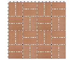 UnfadeMemory Pack de 11 uds Baldosas Terraza Exterior de WPC para Jardín Balcon Patio Porche Baño,Cada Uno 30x30cm,1 m² en Total (Marrón, Patrón 3)