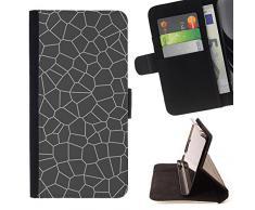 LG X Mach / X Fast - Dibujo PU billetera de cuero Funda Case Caso de la piel de la bolsa protectora Para (Adoquín Piedra Gris Gris)
