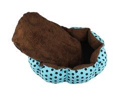 Malloom® grande suave perro perrito gato acariciar cachorro caliente felpa acogedor vellón cama casa cesta nido con estera almohadilla (azul ( blue))