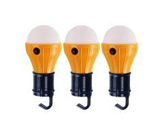 LIOOBO 3pcs LED luz de Camping, LED portátil Tienda Linterna Mochila Camping Senderismo Pesca luz de Emergencia con Pilas de la lámpara