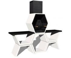 Barbacoa de Obra máximo diseño y calidad,De hormigón bruto hidrófugo blanco y negro, 221 x 50 x 205CM