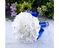 Ramo de flores,RETUROM Rosas de cristal de dama de honor Bouquet de boda para flores de seda artificial nupcial (Azul)