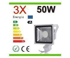 Mcitymall® 3x 50W Blanco Frío SMD Proyector Proyector LED con la lámpara Jardín detector de movimiento
