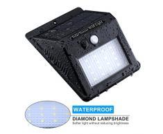 TopElek 16 LED Luz Solar con Sensor de Movimiento,Foco Solar Impermeable de Pared con Diamante Pantalla para Lluminación de Exterior y Seguridad de Camino de Entrada Escaleras.