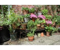 esschert design estante esquinero para flores hierro fundido color rojizo marrn