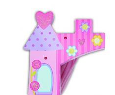 Lucy Locket Teatro de marionetas de madera rosa con forma de castillo y dos marionetas incluidas