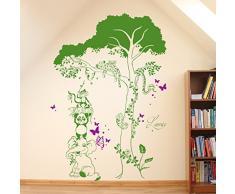 Adhesivo decorativo de pared diseño de animales de la selva con forma de árbol en dos coloures de nombres de nombre M1601, frutas del bosque, XL - 100cm breit x 144cm hoch
