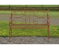 CLP Banco de jardín TARA en el diseño nostálgico, de hierro barnizado, 113 x 47 cm, hasta 5 colores para elegir marrón antiguo