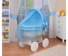 WALDIN Cuna Moisés, carretilla portabebés XXL, 44 colores a elegir,Madera/ruedas lacado en blanco,color textil azul/a cuadros