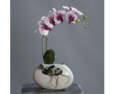 Orquídea Phalaenopsis en un jarrón de cerámica Purple-White 43 cm flores artificiales de ppp