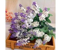 Plantas y flores artificiales Sanysis 1PC lavanda flores artificiales colgantes (Blanco)