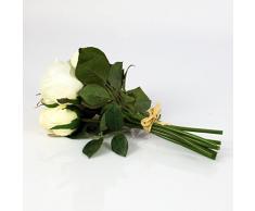 Ramo de rosas decorativas Mini-MOLLY con 8 rosas, blanco-crema, 25 cm, Ø 15 cm - Ramillete artificial / Flores sintéticas - artplants