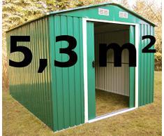 ASS - Cobertizo para jardín (5,3 m², chapa de acero galvanizado), color verde