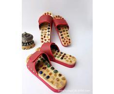 Massage Slipper Home Zapatillas de Masaje de Piedra de ágata Zapatillas de Masaje de Jade de adoquín Inferior Fondo de Punto de acupuntura Zapatillas de casa (Color : Black, Size : 39)