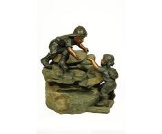 Fuente Exterior Jardín Decorativa Niños en Roca Esculturas Resina. 50 x 35 x 50 cm.