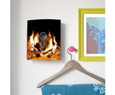 banjado - con diseño de caja de acero inoxidable de 20 cm x23 cm x6 cm con diseño de chimenea