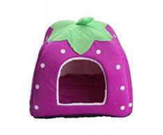 V-SOL Cama / Casa Para Perro Gato Mascotas-Diseño Fresa Talla S Morado