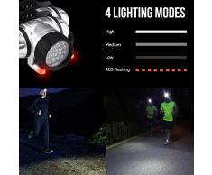 Lighting EVER Linterna frontal LED, Potente 18 LED Blancos y 2 LED Rojos, 4 modos de luz, Pilas incluidas, acampadas, correr, excursiones, etc