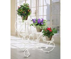 HLC Bastidor para macetas - Soporte metálico para bonsais, decoraciones caseras de 73 cm con 3 cestas,color blanco