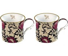 Creative Tops Set of 2 V&A William Morris Anemone Black Fine Bone China Boxed Mugs