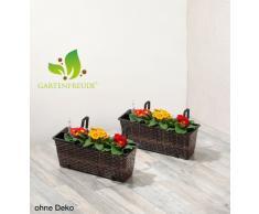Jardinera para balcón de polyrattan incluye suspensión y sistema de riego, marrón bicolor, 12 mm, 2 piezas, 60 x 19 x 18 cm