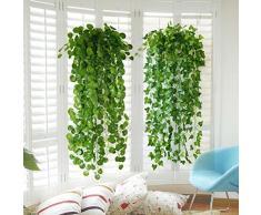 Artificial Yontree verde hojas de hiedra guirnalda de diseño de flores de Rachael Taylor Lavida diseño con texto en inglés, plástico, Verde, 2.0 meters