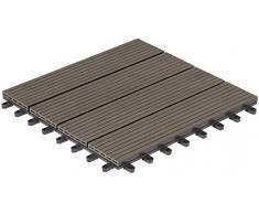 Baldosas de patio marca Gartenfreude 4600-1004-003 WPC conjunto de 6 aprox. 0,54 m2, 30 x 30 cm, perfil hueco, gris oscuro