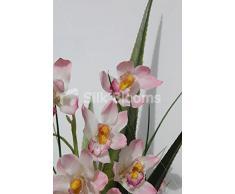 Gran rosa flores de la orquídea Cymbidium burrda arreglo florero de exhibición