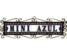 """Letreros con numeros y letras en azulejo de ceramica policromada, pintados a mano en técnica cuerda seca para placas con nombres, direcciones y señaléctica. Texto personalizable. Diseño AZUL MINI 7,3 cm x 3 cm. (LETRA """"E"""")"""