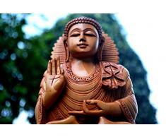 9 pulgadas de altura , Estatua del gran Buda en Madera - Mano - tallado de madera estatuilla de Buda - Escultura de Buda de la decoración con la mano levantada en un gesto de bendición -Medicina Maitreya - Regalos de Buda y Decoración