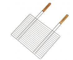 Campingaz 205704 - Parrilla simple para barbacoa rectangular, mango doble de madera (53 x 39 cm)