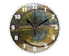 ALLdelete# Wall Clock Jardín Estanque del árbol Otoño Piedra Arco Rayos del Sol Verano Planta Tema Redondo,Silencioso Reloj de Pared sin tictac,Funciona con Pilas para la Cocina,Sala de Estar,Café