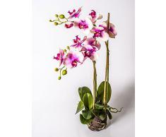 Orquídea Phalaenopsis artificial PABLA en tierra, rosa-fucsia, 70 cm - Planta decorativa / Flores de plástico - artplants